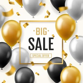 Ballonnen verkoop banner. drijvende ballon reclamefolder mode marketing korting winkelen flyer speciale aanbieding, concept