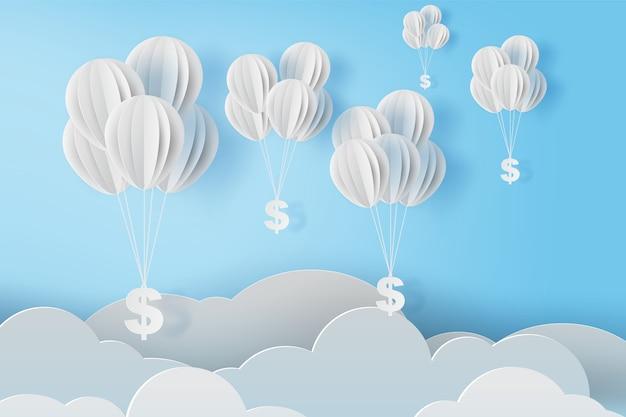 Ballonnen vliegen met dollarteken op blauwe hemel.