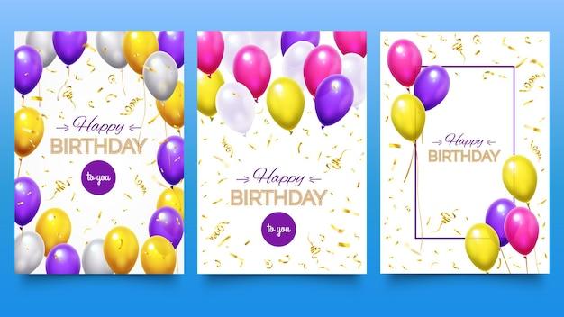 Ballonposter voor verjaardagsfeestje. kleurrijke heliumballonnen met vallende gouden glitter confetti en linten. vakantie ontwerp voor wenskaart set. feestelijke viering vectorillustratie