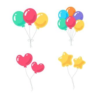 Ballonvector. kleurrijke ballonnen vastgebonden met touw voor kinderverjaardagsfeestje