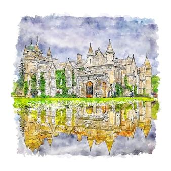 Balmoral castle scotland aquarel schets hand getrokken illustratie