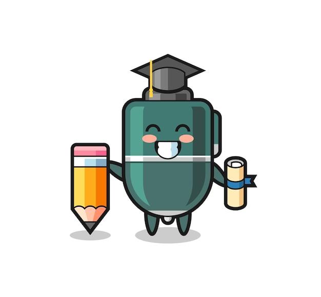 Balpen illustratie cartoon is afstuderen met een gigantisch potlood, schattig ontwerp