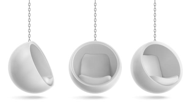 Balstoel, ronde fauteuil hangen aan ketting voor- en zijaanzicht.