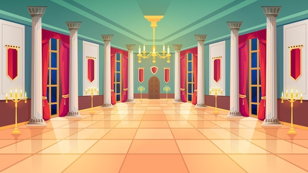 Balzaal, middeleeuwse paleiskamer, koninklijk kasteelinterieur. king balzaal met luxe interieur, marmeren zuilen en gordijnen, gouden kandelaars en kaarslampen
