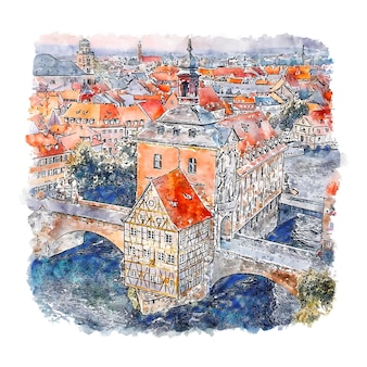 Bamberg duitsland aquarel schets hand getrokken illustratie
