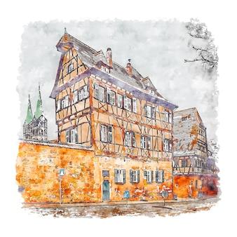 Bamberg duitsland aquarel schets hand getrokken