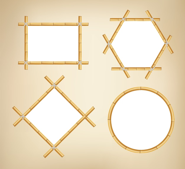 Bamboe frames. houten stokbanners van verschillende vormen. japanse rustieke bamboe teken frame.