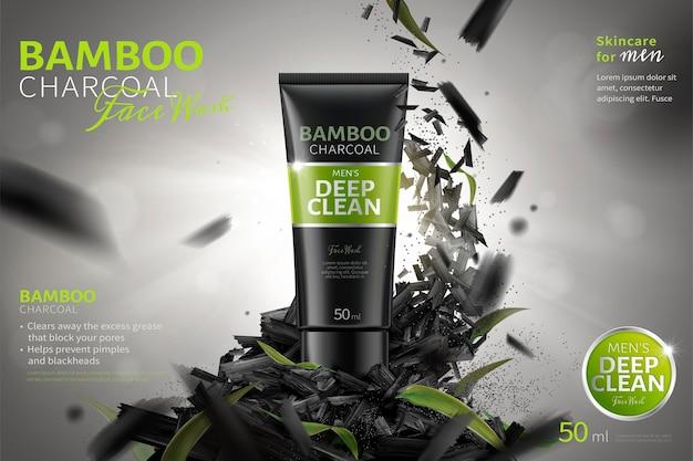 Bamboe-houtskool gezichtswasadvertenties met geplette koolstof die in de lucht vliegen