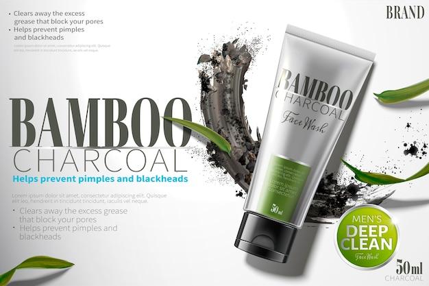 Bamboe-houtskool gezichtswasadvertenties met uitstrijkje koolstofpoeder