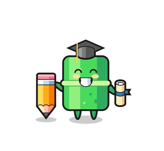 Bamboe illustratie cartoon is afstuderen met een gigantisch potlood, schattig stijlontwerp voor t-shirt, sticker, logo-element