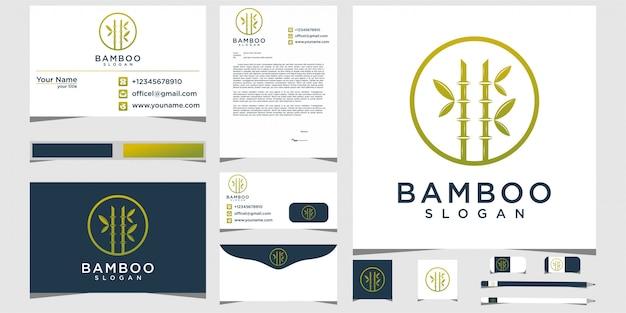 Bamboe logo-ontwerp met briefpapier