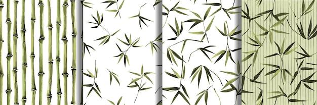 Bamboe naadloze patroon set, vector herhalen achtergronden