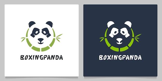 Bamboo panda en glove negatief ruimtelogo-ontwerp