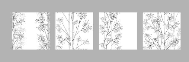 Bamboo seamless patterns set natuurlijke herhalingsachtergronden