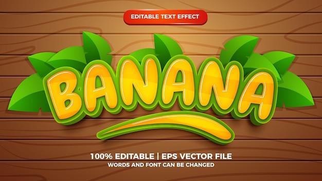 Banaan bewerkbaar teksteffect 3d-tekenfilmstijl