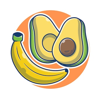 Banaan en avocado verse cartoon afbeelding. banaan en een plak avocado fruit concept. fruit concept illustratie. flat cartoon stijl.