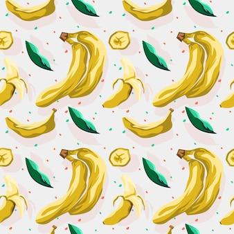Banaan en blad naadloos patroonontwerp