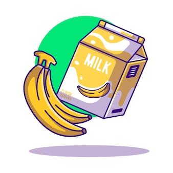Banaan en melkbox cartoon illustraties voor wereldmelkdag