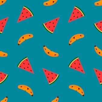 Banaan en watermeloen op blauw