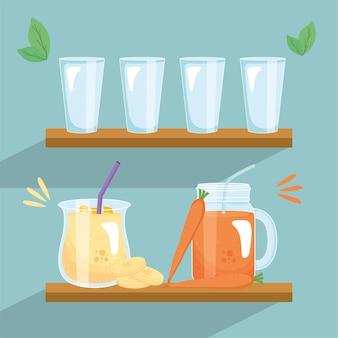 Banaan en wortel smoothies drinken potten