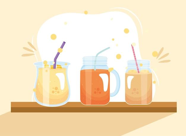 Banaan en wortel smoothies drinkglazen