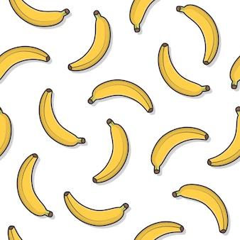 Banaan fruit naadloos patroon op een witte achtergrond. verse banaan pictogram vectorillustratie