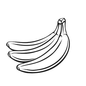 Banaan fruit overzicht pictogram, zwart-wit afbeelding tekenen. gezonde voeding, biologisch voedsel, vegetarisch product.