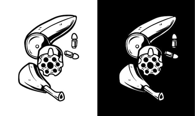 Banaan pistool karakter illustratie