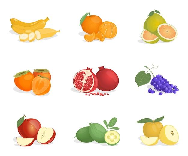 Banaan sinaasappel guave kaki granaatappel druif appel pomelo en feijoa