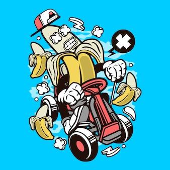 Banana gokart rider cartoon