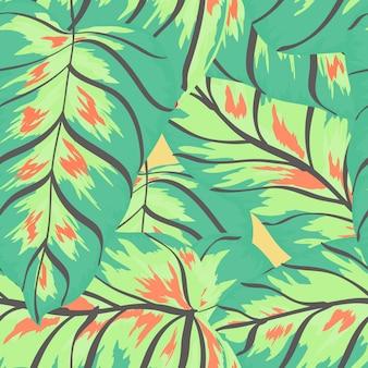 Banana tropical verlaat floral print exotische naadloze patroon.
