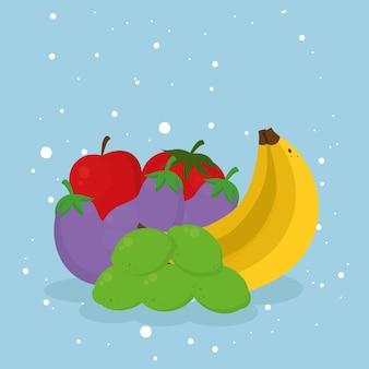 Bananen aubergines en gezond voedsel op blauwe achtergrond