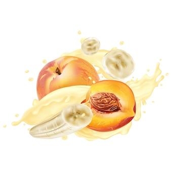 Bananen en perziken in yoghurt of milkshake spatten op een witte achtergrond. realistische illustratie.