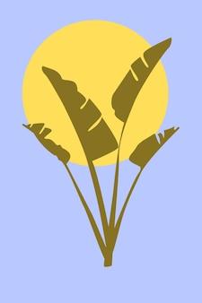 Bananenbladeren in boho-stijl minimalistische abstracte trendy kunstwerken vectorillustratie