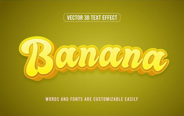 Bananenfruit 3d bewerkbare teksteffectstijl