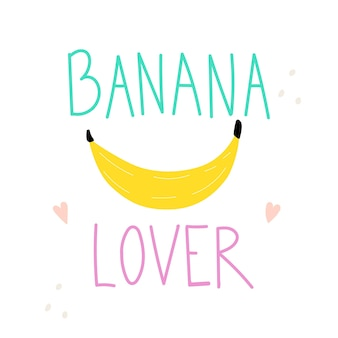 Bananenliefhebber belettering tekst met banaangrappige vectorillustratie kinder typografie slogan
