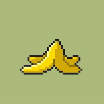 Bananenschil met pixelart-stijl
