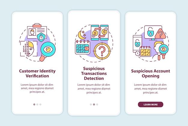 Bancaire beveiligingsmaatregelen onboarding mobiele app-paginascherm met concepten. 3 stappen om financiële informatie te beschermen. ui-sjabloon met rgb-kleurenillustraties