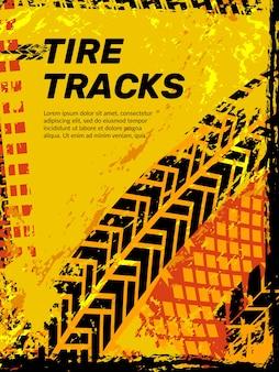 Band beschermer. auto motorfiets vrachtwagen wielen sporen voertuig abstracte achtergrond met grunge beschermer. illustratie band afdruk off-road, auto grunge poster
