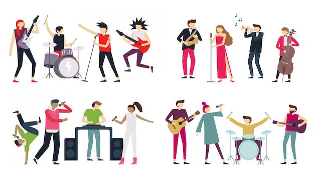 Band. jazzblues, punk rock en indie pop bands. metalgitarist, drummer en rapzanger geïsoleerde muzikanten instellen