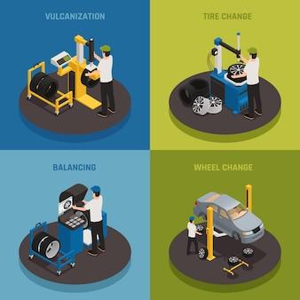 Band productie 2x2 samenstelling set van vulkanisatie balanceren wiel verandering vierkante composities