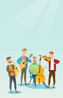Band van musici die muzikale instrumenten spelen.
