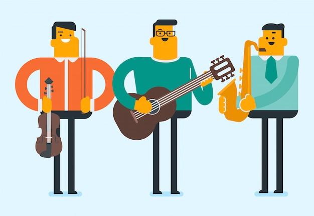 Band van muzikanten die de muziekinstrumenten bespelen.