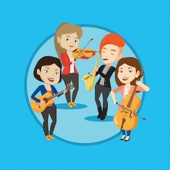 Band van muzikanten spelen op muziekinstrumenten.