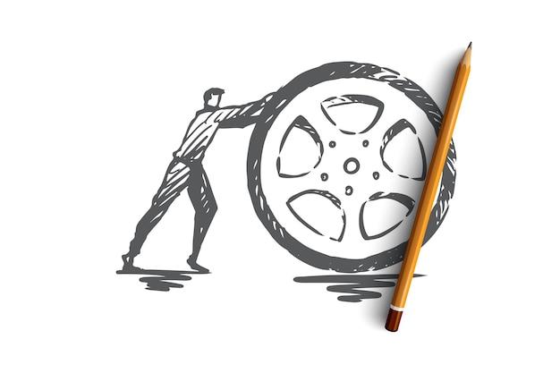 Band, wiel, auto, vervoer, reparatieconcept. hand getekende wiel reparatie service concept schets. illustratie.