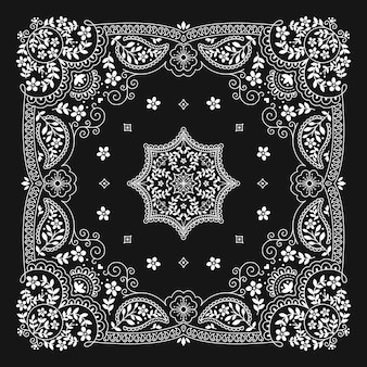 Bandana paisley ornament pattern klassiek vintage zwart-wit design