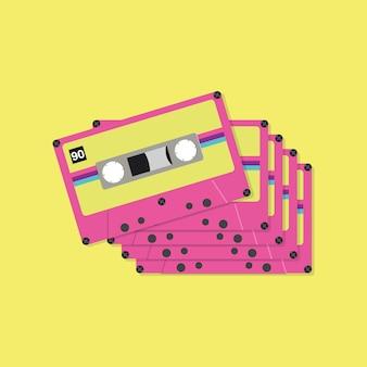 Bandcassettetapes in vlakke stijl