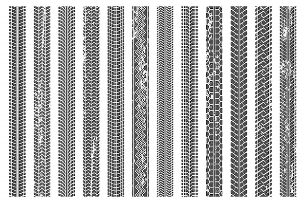 Banden betreden sporen. het vuile bandspoor, grunge textuur betreedt patroon en de reeks van de het spoorillustratie van de vrachtwagenauto