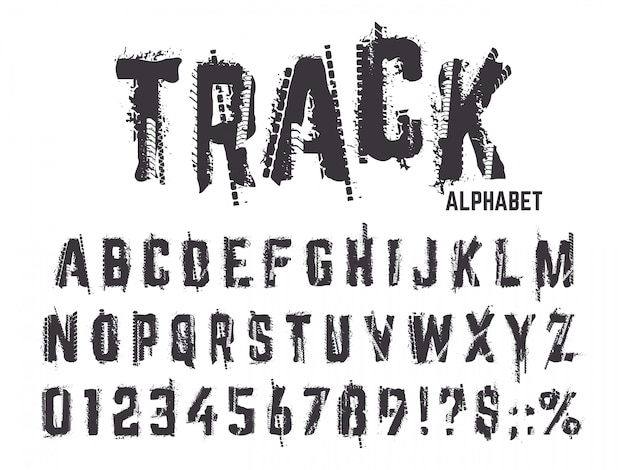Bandensporen alfabet. de grungetextuur betreedt letters en getallen, typografie de sporen van het autowiel die abc geplaatste symbolen van letters voorzien. alfabet en abc type, zwarte band getextureerde illustratie