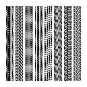 Bandensporen. loopvlak wiel voertuig draad snelheid snelweg motorcross trace auto weg rubber zwart textuur naadloze print set